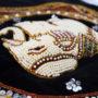 Perlenbesticktes und gefüttertes Elefantenpatch in 3D